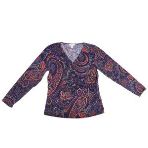 Coldwater creek psychedelic Paisley Faux Wrap Top